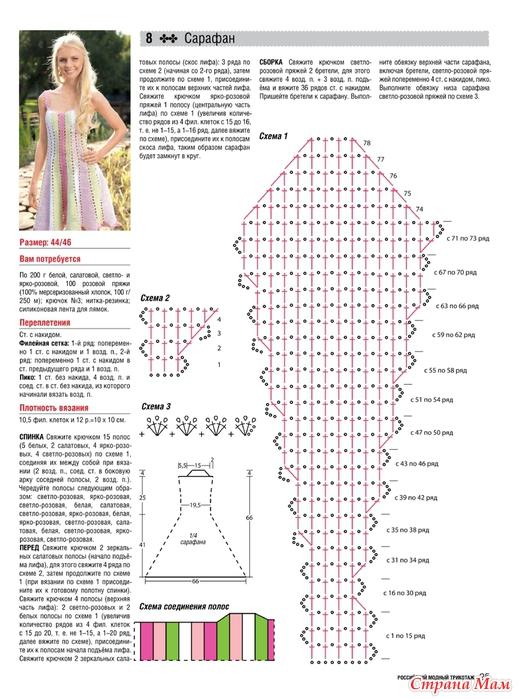 Вязание крючком сарафан летний с описанием и схемами