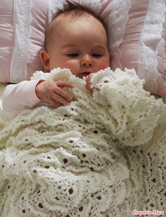 Детское одеяло «безе» вязаное