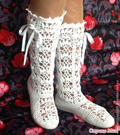 Продолжаю смотреть на вязаную обувь...
