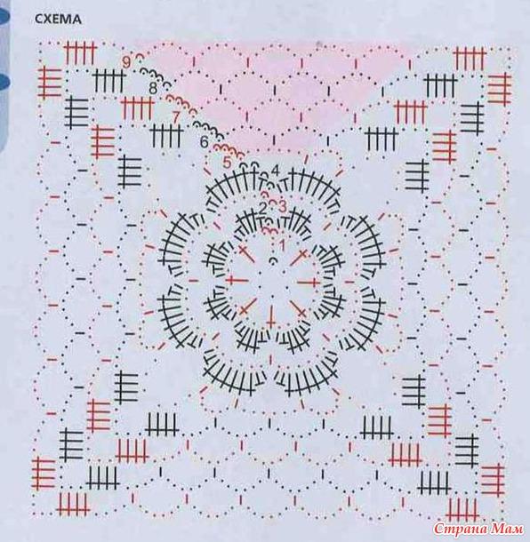 Квадратные салфетки крючком схемы на стулья