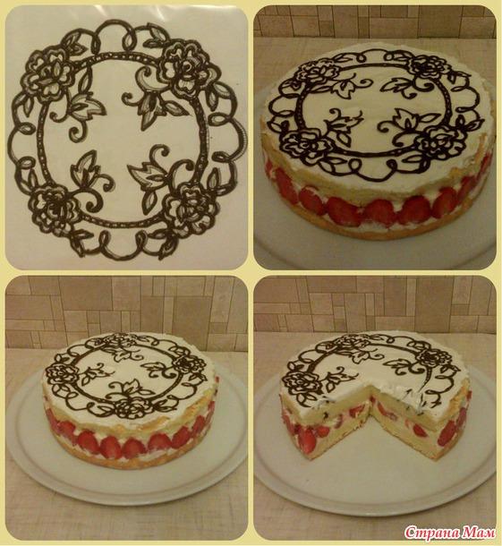 Рисунок на торте в домашних условиях 17