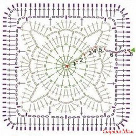 Сапожки вязание квадратами крючком