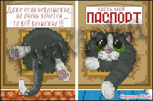 Схема вышивки на паспорт с котом