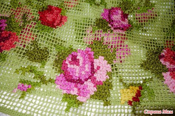 сетка и вышивка крестиком