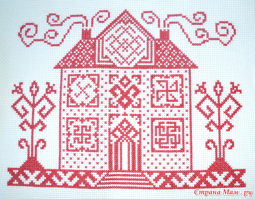 Вышивка домик монохром схема