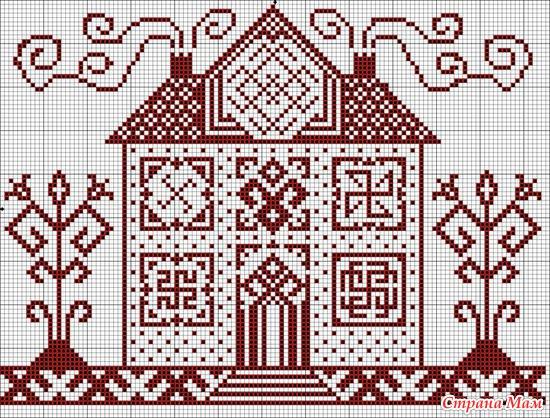 Схемы вышивки домики монохром