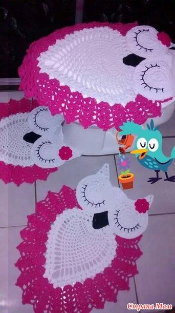 вязаный коврик для ванной сова 29 сентября 2015 рукоделие