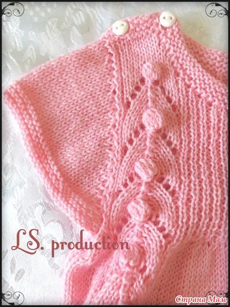 *Вязаное платье для малышки из пряжи Детский Каприз