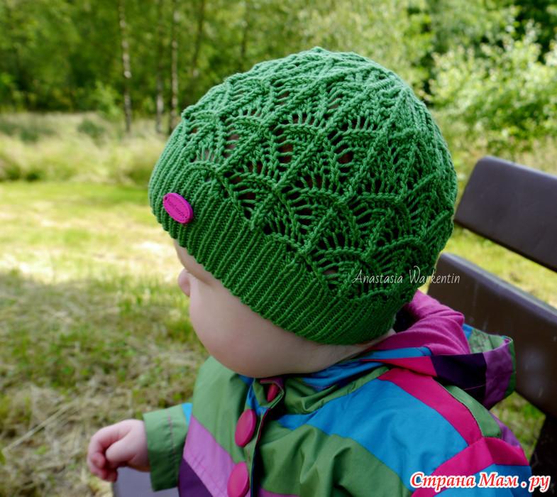 Вязание детской ажурной шапочки спицами