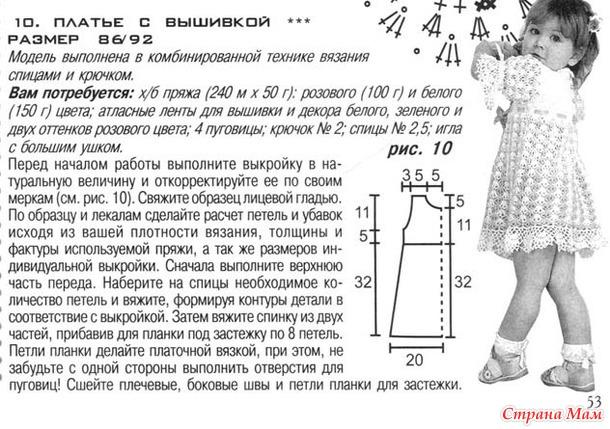 Мастер класс вязания спицами платья для девочки