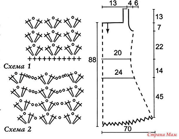 Схема вязания детского платья лотос спицами 99