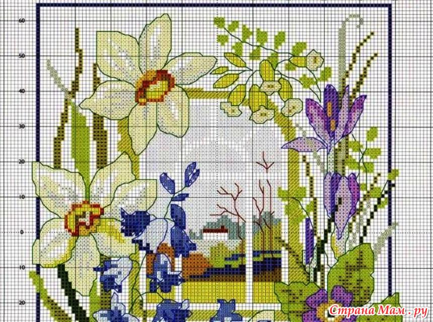 Весна вышивки крестом схемы 89