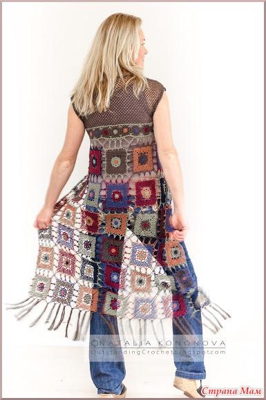 """. Длинный жилет """"Long Vest """" с бахромой. Фото + схема мотива."""