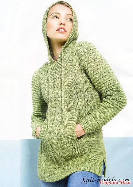 Пуловер с капюшоном и карманом-кенгуру