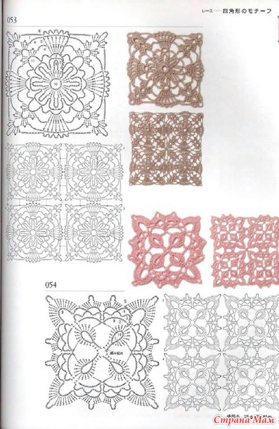Схемы вязания квадратных мотивов крючком