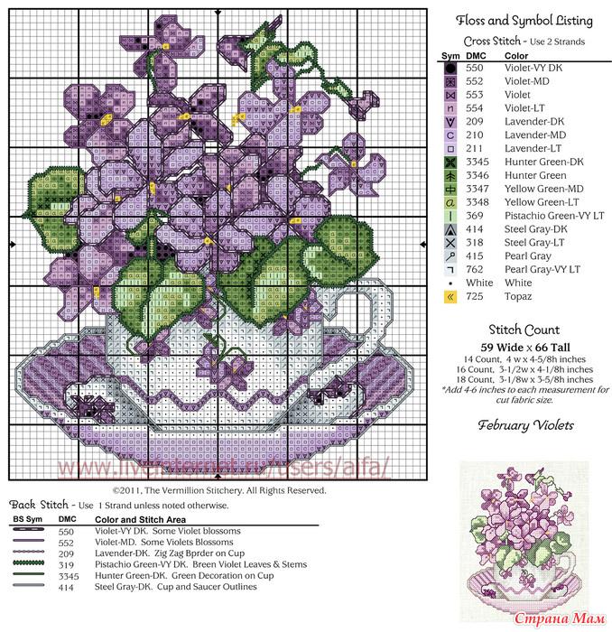 Вышивка крестом схема цветочки