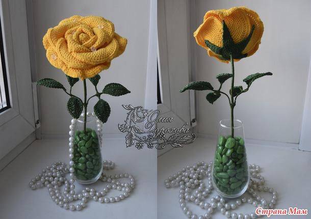 Красивые объемные розы крючком