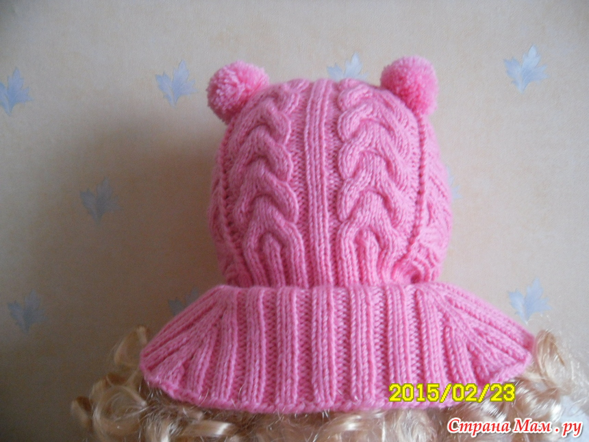шапочка шлем для девочки спицами схемы