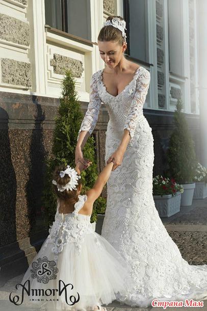 Вязание крючком платье свадебное
