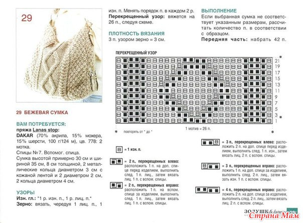 Вязание сумки схемы и
