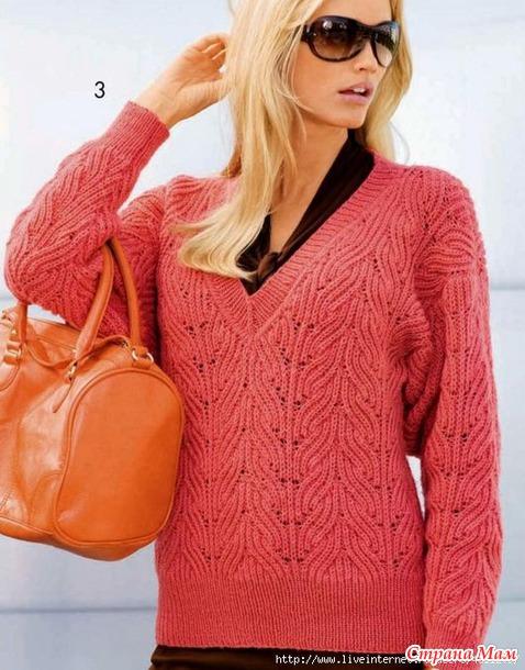 Пуловер с треугольным вырезом. Спицы..