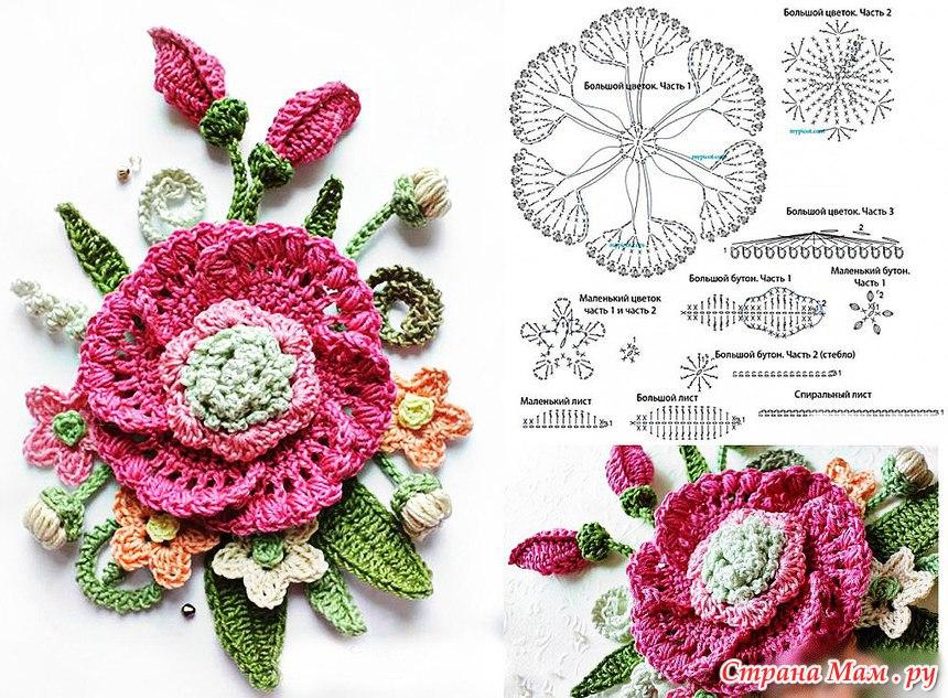 Вязанные крючком цветы
