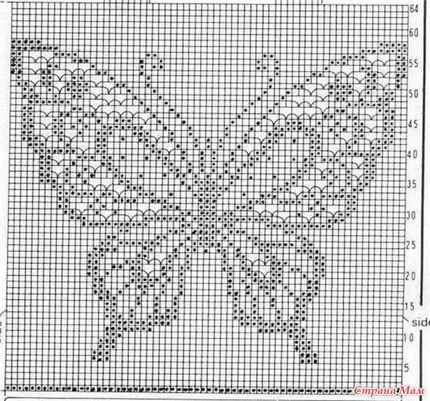 Филейное вязание спицами схемы рисунки