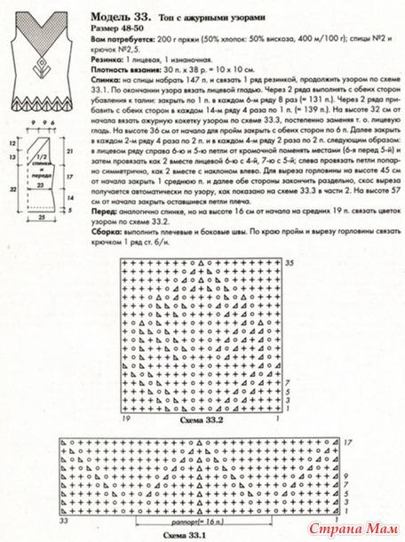Вязание спицами топы и майки ажурные схемы и описание