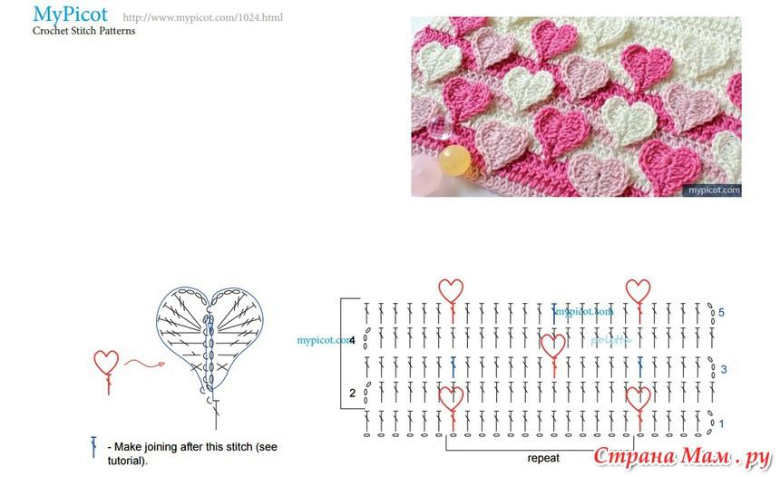 Вязание пледов с сердечками крючком схемы