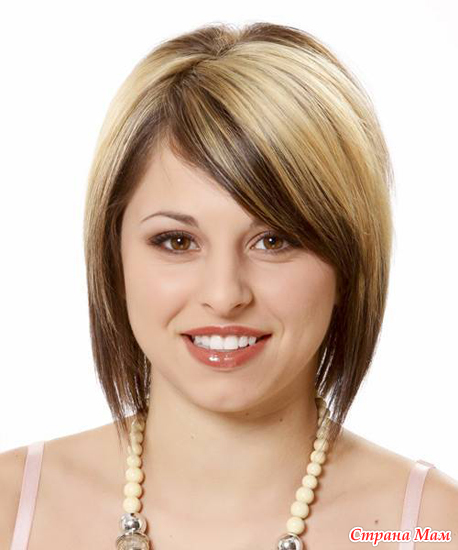 Причёски для круглого лица на средние волосы без чёлки