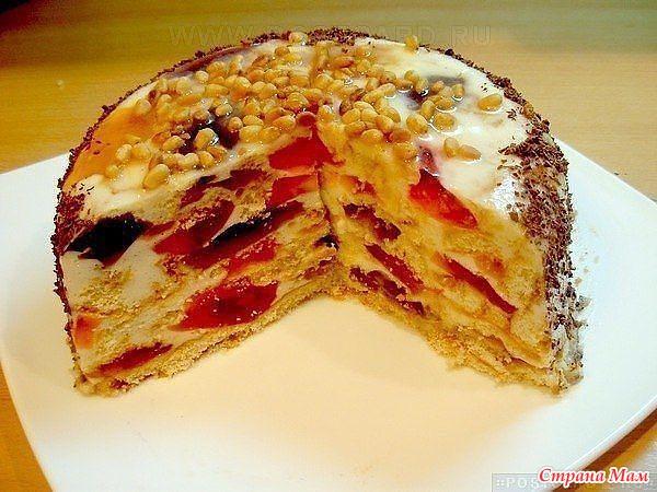 рецепт торта где слой желе слой сметана