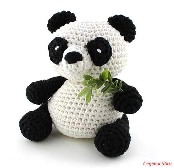 Панда по связать крючком