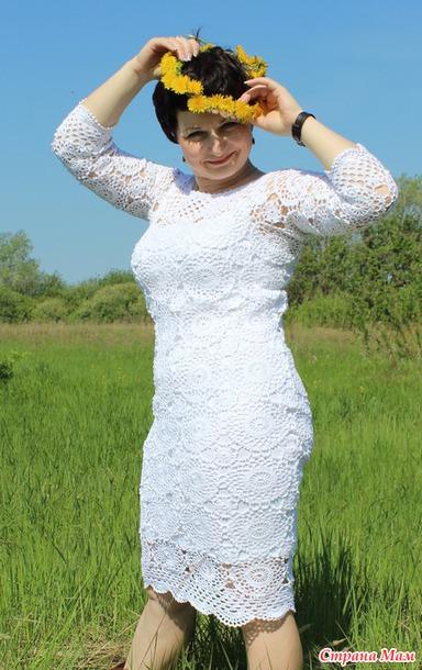 """. Белое платье крючком """"В отпуск!"""" мотивами ОТ ETERNAL SUNSHINE CREATIONS"""