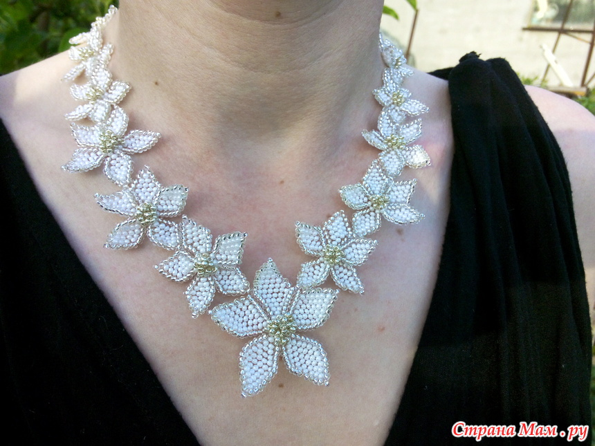 Ожерелье из белого бисера своими руками