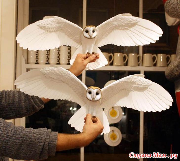 Как сделать объёмную сову из бумаги