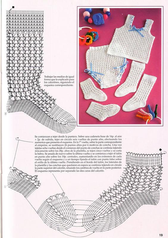 Носки крючком схемы и описание детские