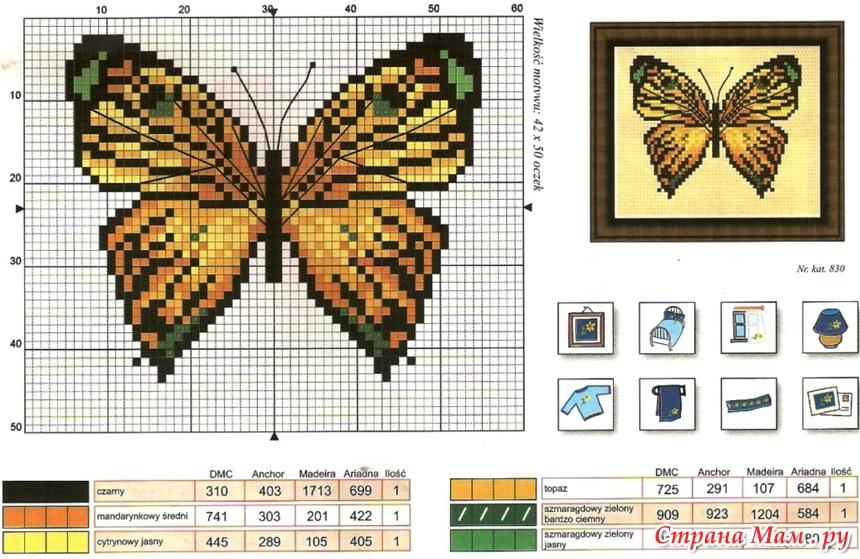 Схема вышивки крестом бабочки бесплатно