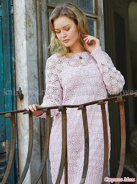 Британский дизайнер вязаной моды Мари Валлин: Ажурное платье спицами и не только