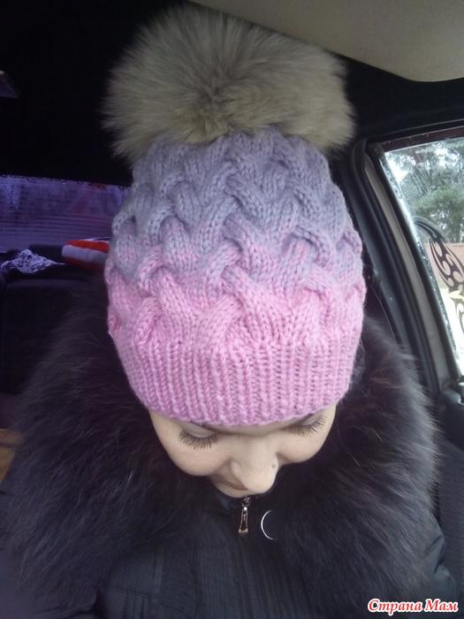 Вязание шапка с косами фото