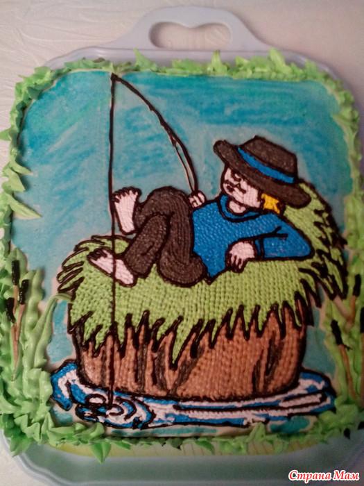 как украсить торт рыбаку дома