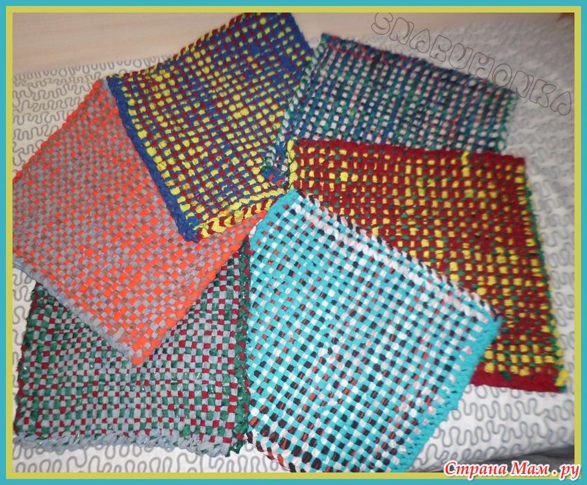 Плетение коврика на рамке