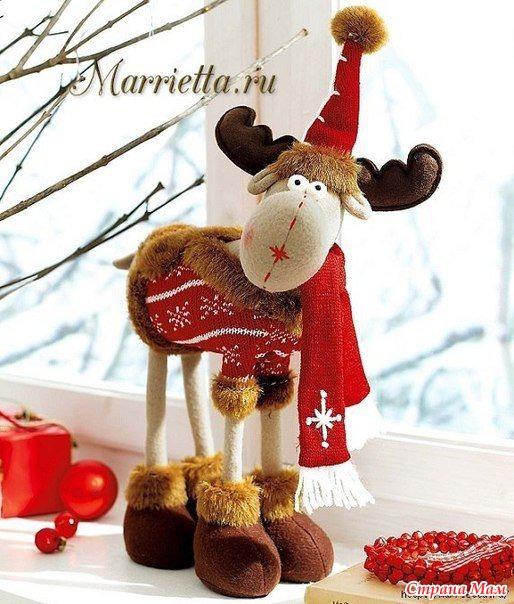 Как сшить новогоднюю игрушку оленя