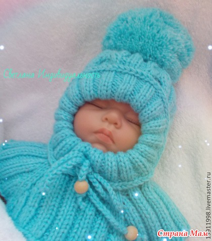 Как связать шапке-шлем для новорожденного спицами