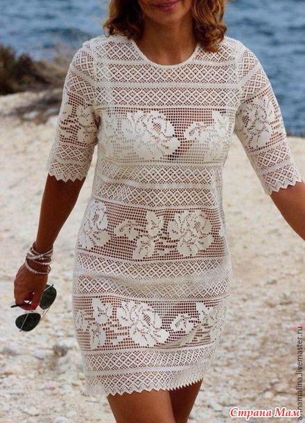 Летнее платье-туника филейным круживом
