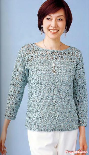Невесомость. Ажурный пуловер крючком..