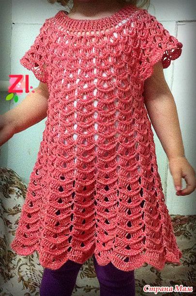 Вязаное платье снежинка или зефир крючком схема.
