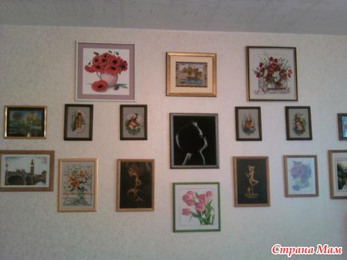 Повесить вышивку на стену