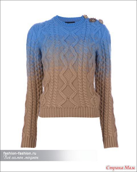 Пуловер связанный градиентом