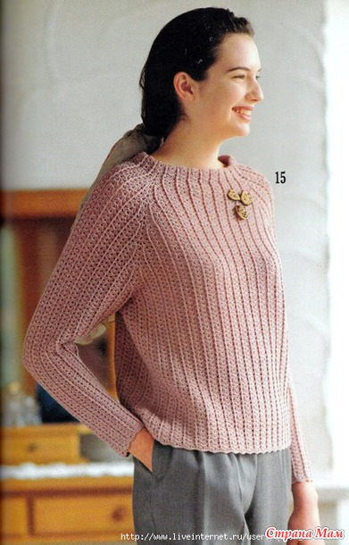 Пуловер реглан крючком