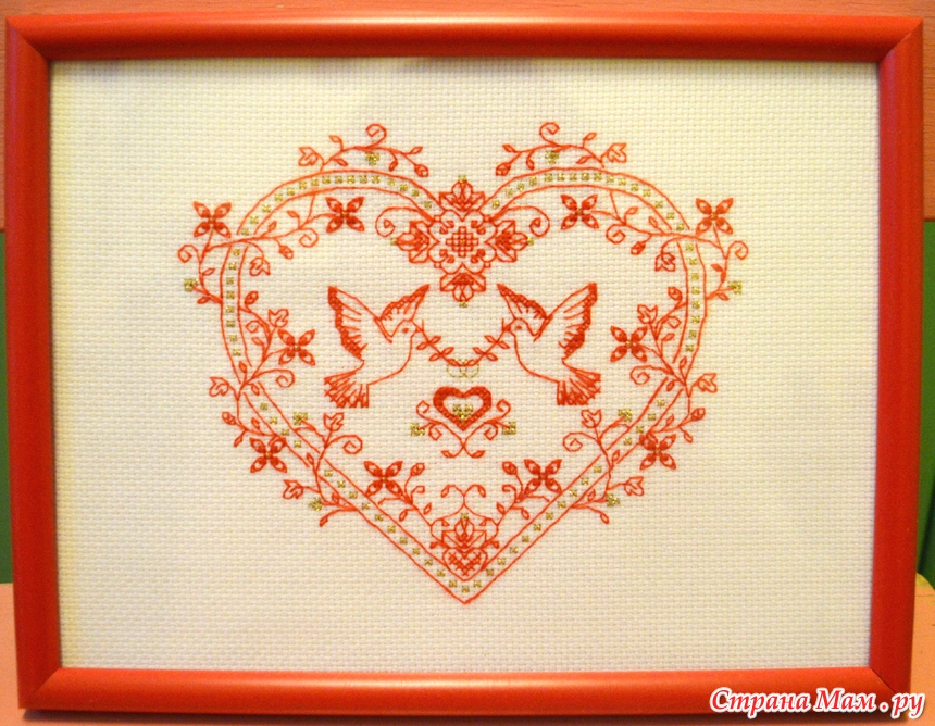 Вышивка голуби в сердце